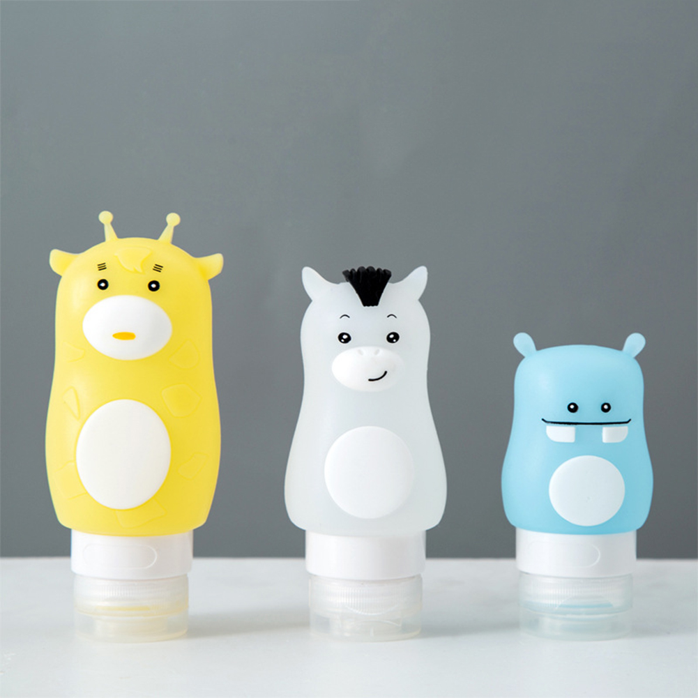 Cartoon Animal Cute Portable Silicone Travel Bottles Cosmetics Shampoo Container travel container set