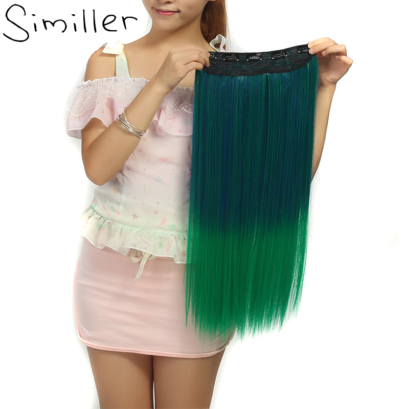Similler Straight High Temperature Fiber Ombre Synthetic Clip In Hair Extensions With 5 Clips 28 Colors