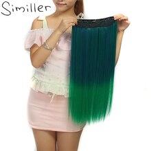 Similler Прямо Высокая Температура Волокна Ombre синтетический зажим в наращивание волос с 5 Зажимы 28 Цвета доступны для Для женщин
