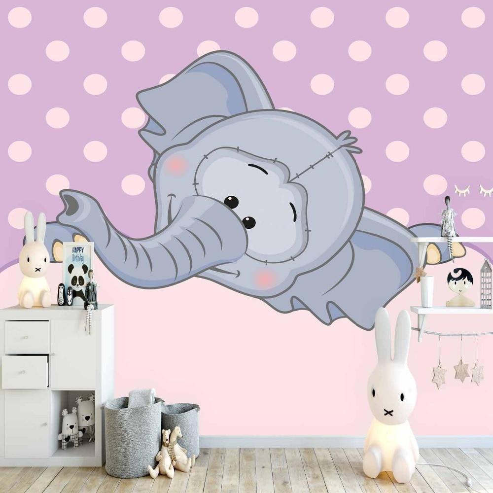 Else Purple Floor Pink Dots Gray Cute Elephants 3d Print Cartoon Cleanable Fabric Mural Kids Children Room Background Wallpaper