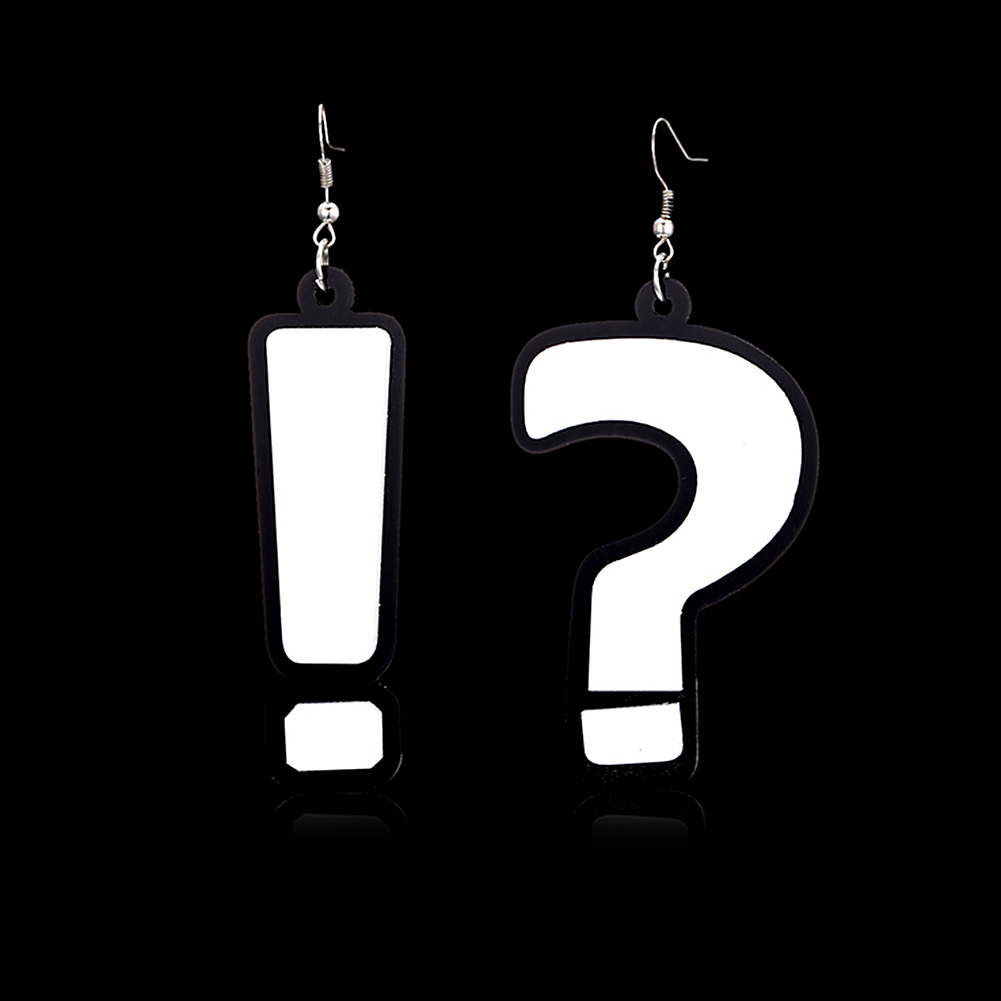 2017 Womens Hip Hop Exclamation and Question Mark Acrylic Party Club Drop Earrings