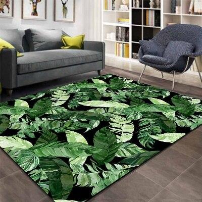 Autre sol noir sur Jungle forêt vert feuilles impression 3d antidérapant microfibre salon décoratif moderne lavable zone tapis