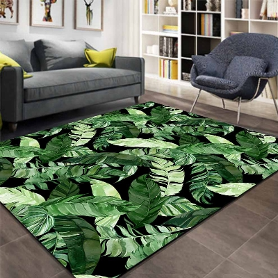 Else Black Floor On Jungle Forest Green Leaves 3d Print Non Slip Microfiber Living Room Decorative Modern Washable Area Rug Mat