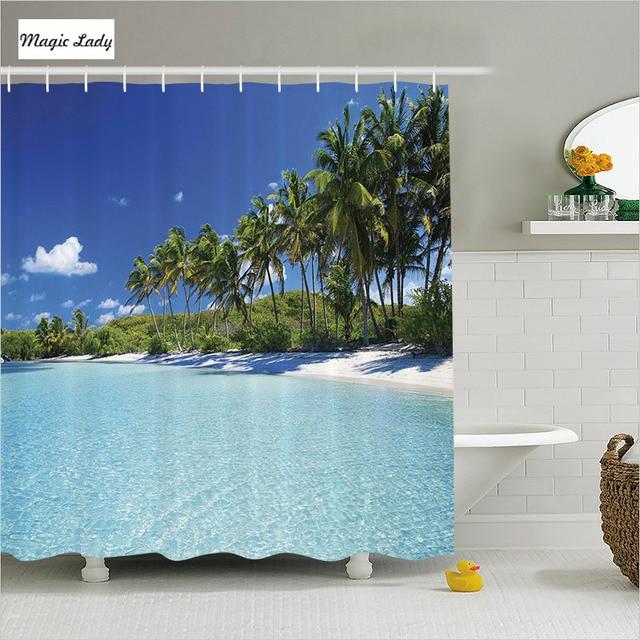 Shower Curtain Tropical Bathroom Accessories Ocean Beach Resort