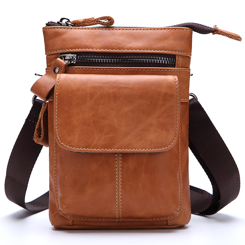 MISFITS Genuine Leather Men's Waist Bag Functional Belt Hook Cowhide Male Small Shoulder Pack Crossbody Bags Mobile Phone Pouch vintage bags real genuine leather cowhide men waist pack pouch for men leather waist bag outdoor travle belt wallets vp j7144 page 9