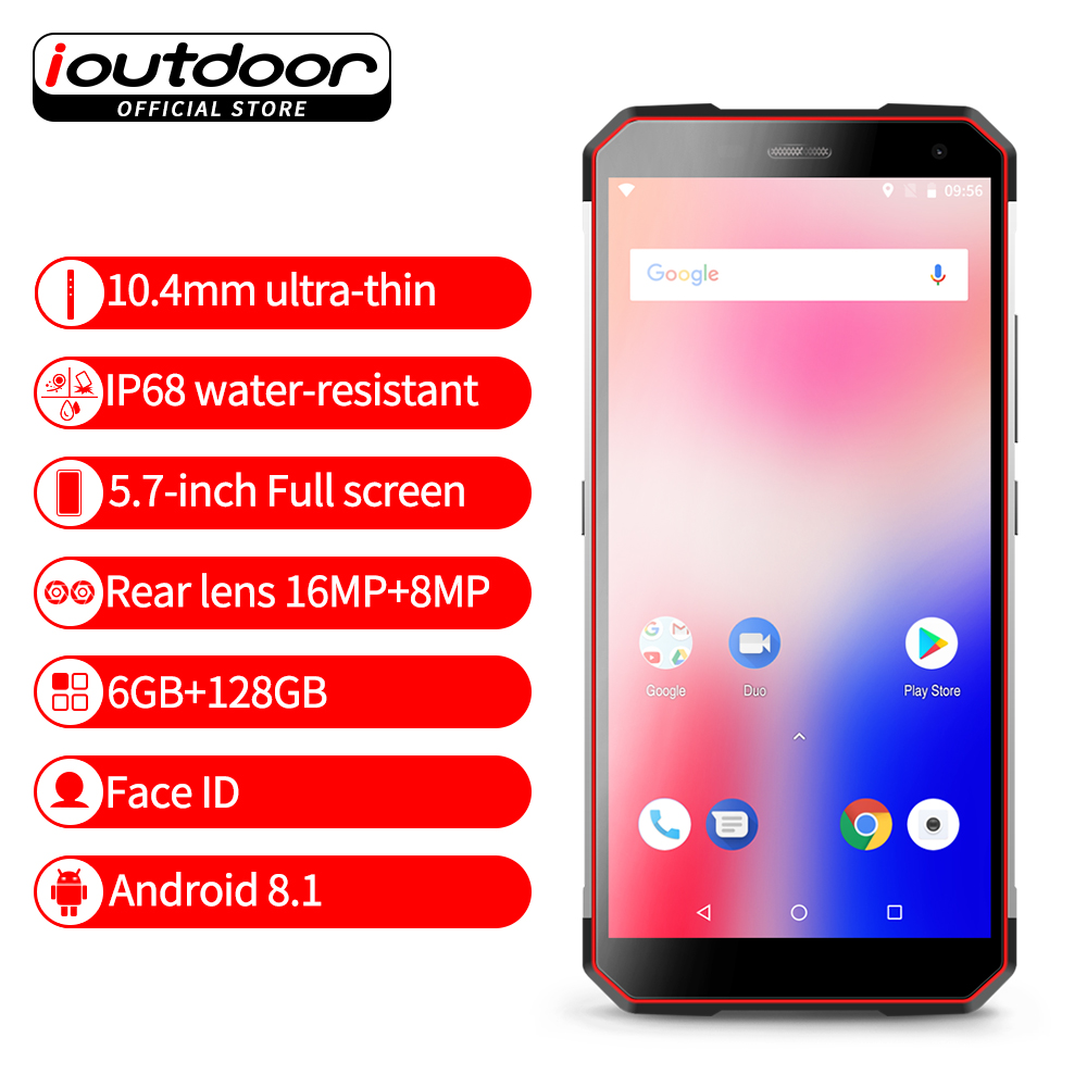 2018 New ioutdoor X Android 8.1 Mobile Phone 5.7 Inch MTK6763 6GB 128GB ROM 3400mAh Big Battery NFC IP68 Waterproof Smartphone