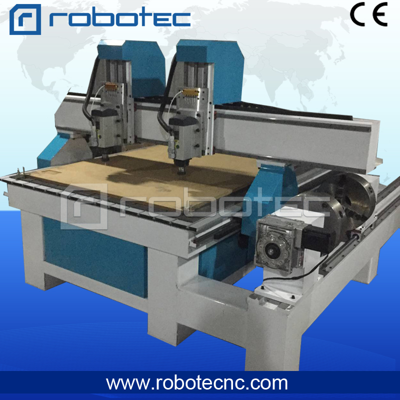 Double Heads Heavy Duty Cnc Router Engraver Machine / 4 Axis Cnc Router / 1325 Wood Cutting Machine Mdf Engraving