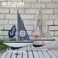 Free Shipping Mediterranean Miniature Marine Nautical Wood Blue Sailing Boat Wood Crafts Ornaments Party Home Room