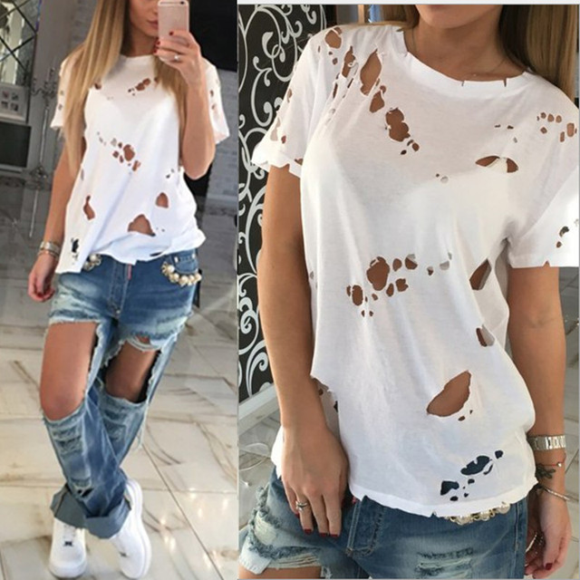 6c1f01568a0 2018 Summer Women Ripped Holes Tops T Shirt Sexy Black White Cotton Short  Sleeve Solid Shirts Casual Loose T Shirts Blusas Tee-in T-Shirts from  Women s ...