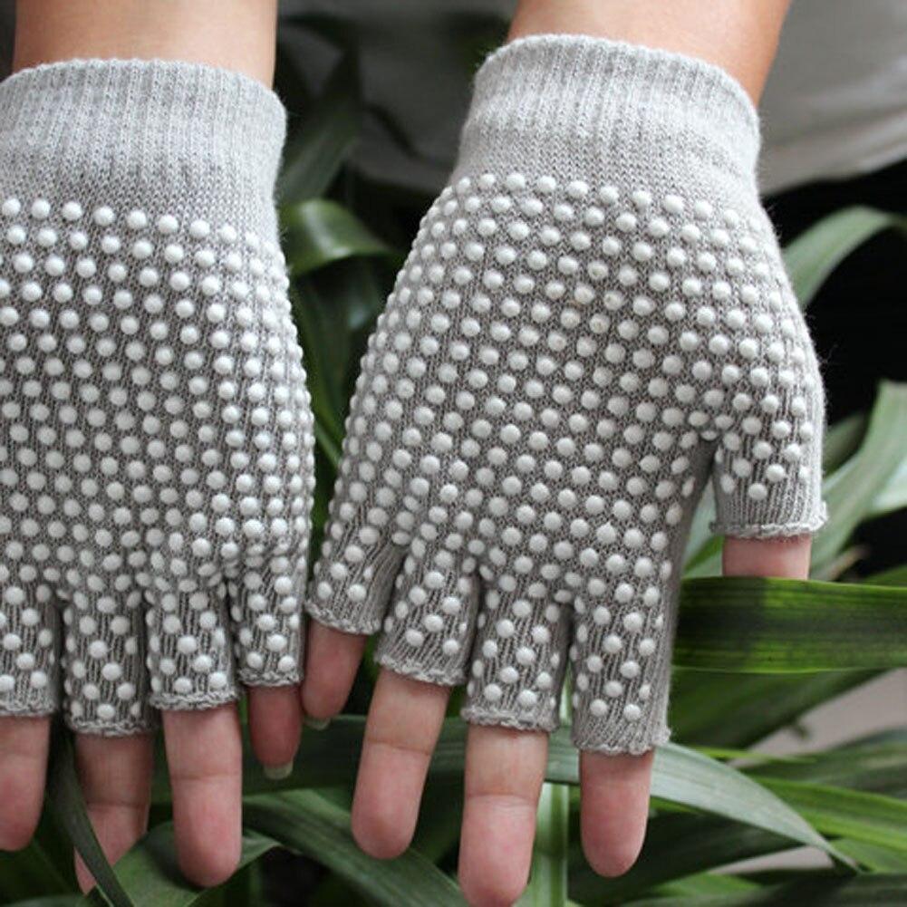 1 Pair Man Women Semi Finger Red Black Gloves Anti Slip Wearable Yoga Mittens Glove