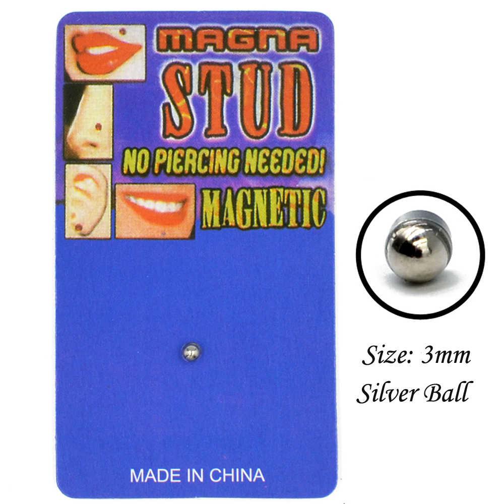 1 peça de Aço Inoxidável Gem Cheater Falso Piercing Labret Lábio Garanhão Ímã Magnético Brinco Não Piercing Plugs Body Piercing Jóias
