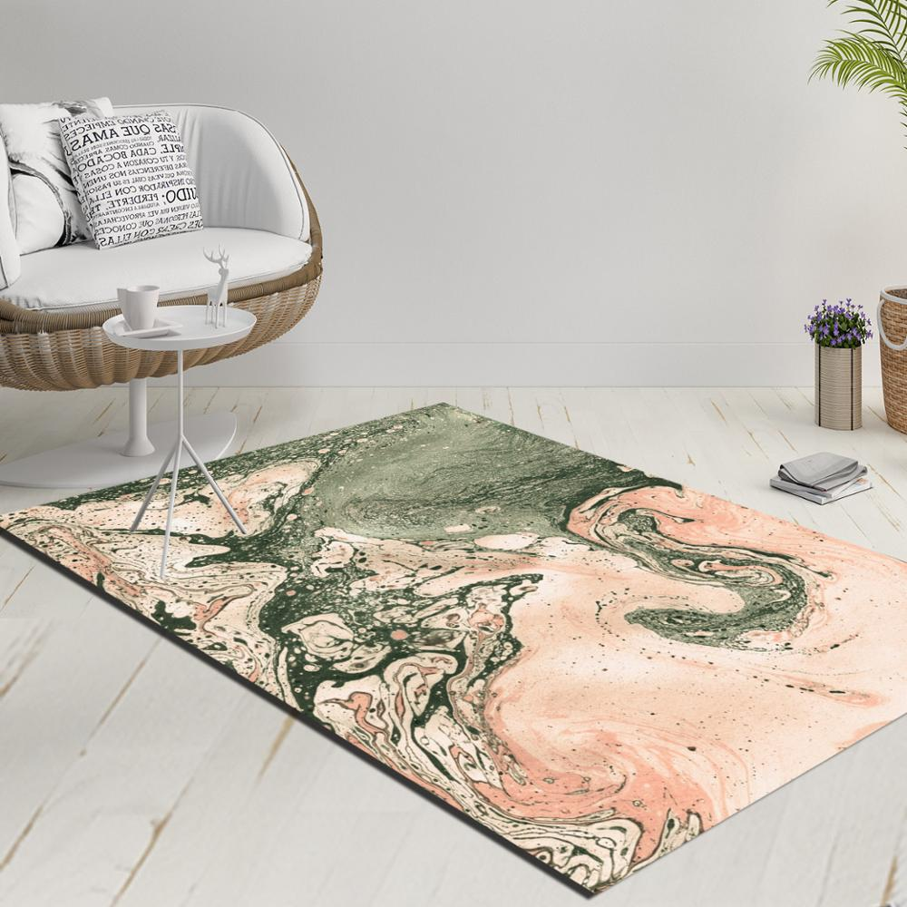 Else Green Light Brown Abstract Watercolor Decorative 3d Print Anti Slip Kilim Washable Decorative Kilim Rug Modern Carpet
