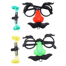 dbdec63a8 1 Pcs Bigode Nariz Falso Sobrancelha Clown Fancy Dress Up Traje Props Fun  Party Favor Óculos Grande Assoar o Nariz Óculos de Fér..