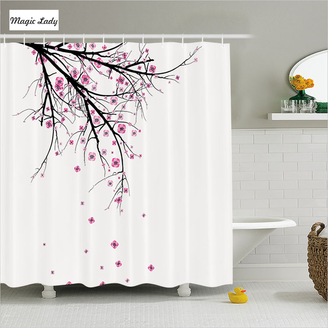 Shower Curtain White Bathroom Accessories Branch Cherry Blossom ...