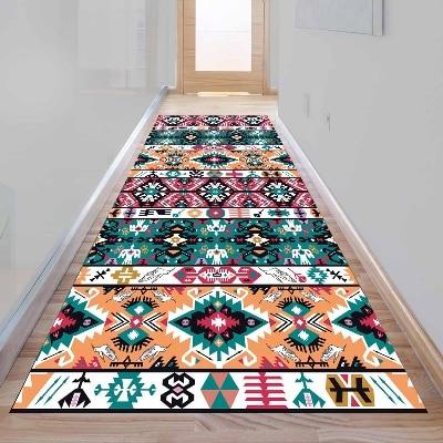 Else Orange Green Red Yellow Turkish Ethnic 3d Print Non Slip Microfiber Washable Long Runner Mat Floor Mat Rugs Hallway Carpets