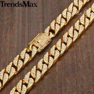 Image 3 - Colar masculino hip hop ouro miami gelado para fora curb cubana corrente colar para mulher jóias masculinas dropshipping atacado 14mm kgn455