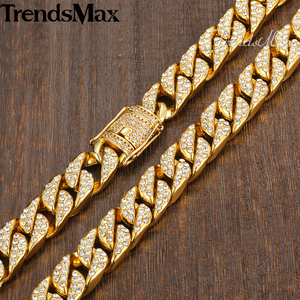 Image 3 - Mens Necklace Hip Hop Gold Miami Iced Out Curb Cuban Chain Necklace For Woman Male Jewelry Dropshipping Wholesale 14mm KGN455