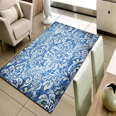 Else Blue White Damask Ottoman Vintage Design 3d Print Non Slip Microfiber Living Room Decorative Modern Washable Area Rug Mat