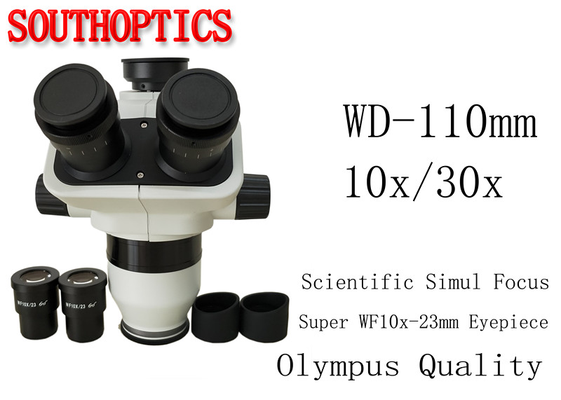Free ship Scientific Excellent 10x 30x Simul focal Stereo Microscope Trinocular head SWF10x 23 eyepiece rubber