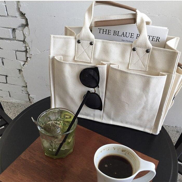 Повседневные холщовые большие сумочки, удобная вместительная сумка с несколькими карманами, практичный дизайнерский студенческий тоут-ме...