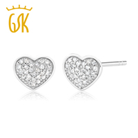 10K White Gold 0 075 CTW White Diamond Heart Shape Stud Earrings