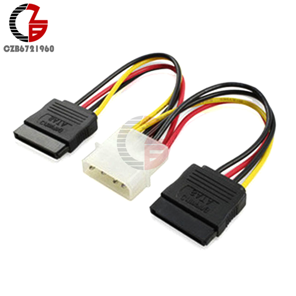 4 Pin IDE Molex To 2 Serial ATA SATA Y Splitter Dual Hard Drive Adapter Cable Connector