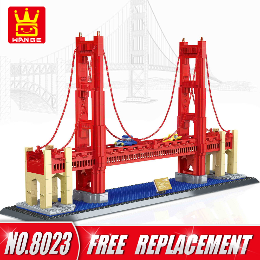 WANGE 1977pcs Bricks Architecture Series GOLDEN BRIDG OF UNITED STATES Educational Kids Toy Building Blocks Home Decor NO.8023 world famous architecture 1977pcs wange blocks golden gate bridge model building bricks set diy assembly toys for children 8023