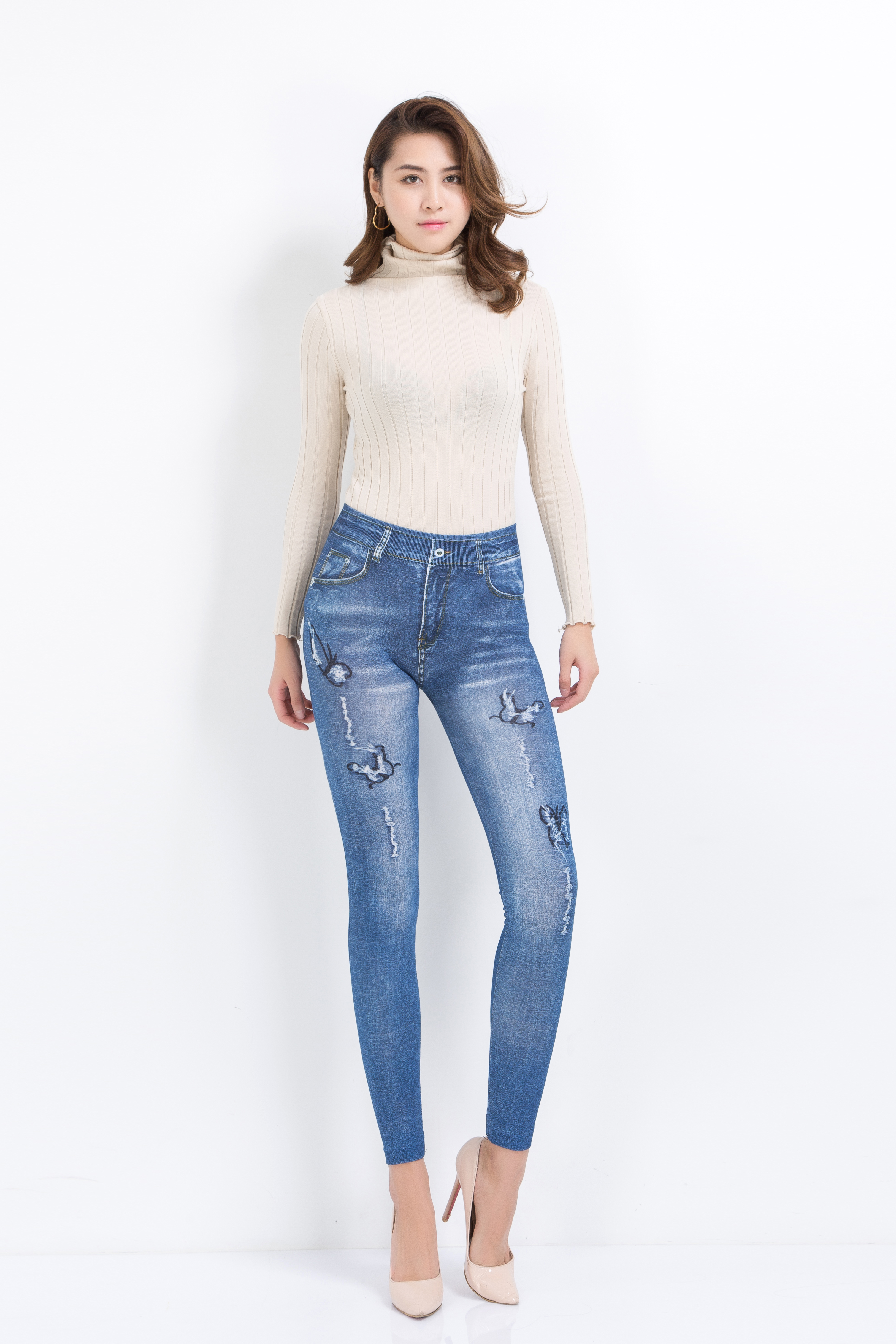 Leggings for women elastic and sexy OEMEN LR669 4 jeans butterfly pattern shipping from Russia