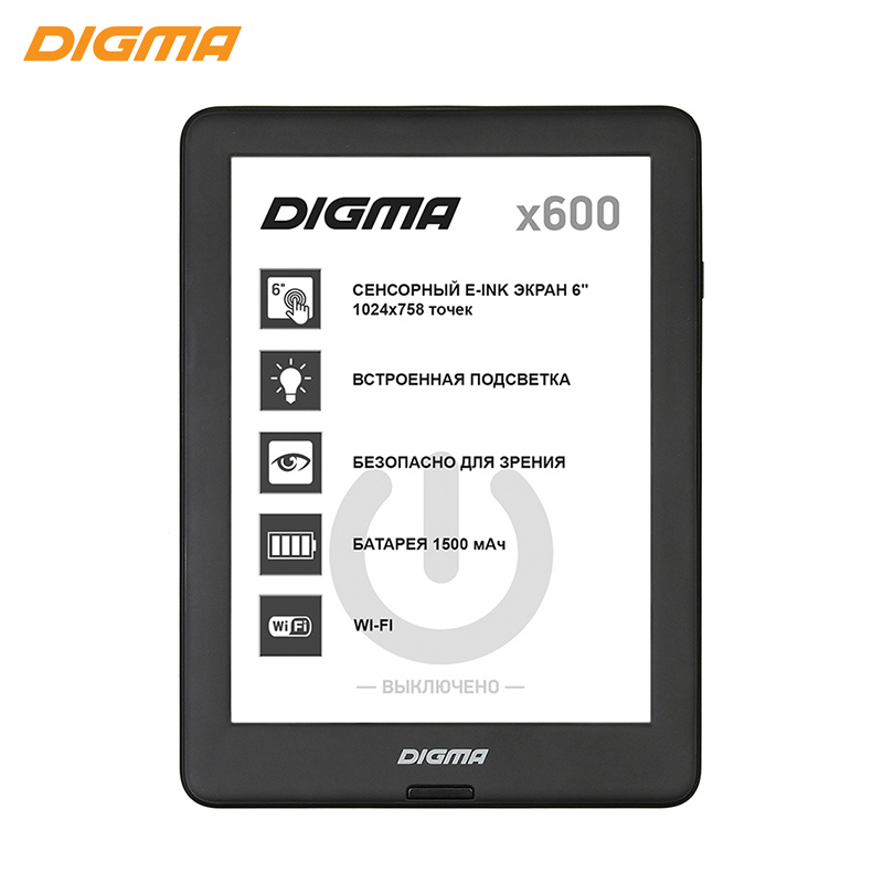 E-book Digma X600 6 E-ink HD 1024x758 Touch Screen 1Ghz / 8Gb / frontlight black black new 1pcs 10 1 tablet pc touch screen handwriting screen for ezee tab 10q16 s panel digitizer sensor replacement