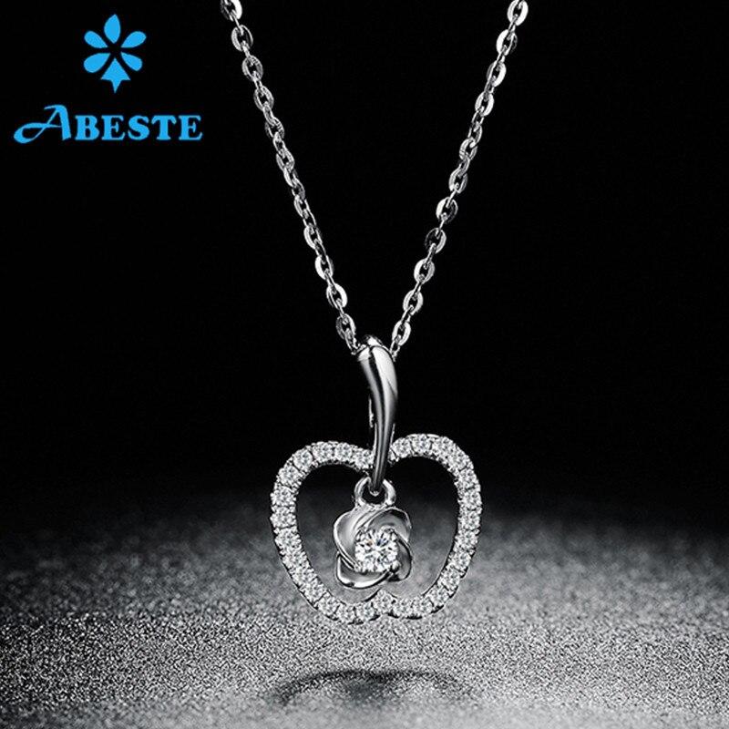 ANI 18 K solide blanc/Rose/or jaune femmes collier de mariage 0.14 ct réel diamant pendentif de fiançailles collier chaîne forme de pomme