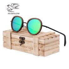 AN SWALLOW 2018 new retro wooden sunglasses mens black walnut ladies brand design polarized UV400