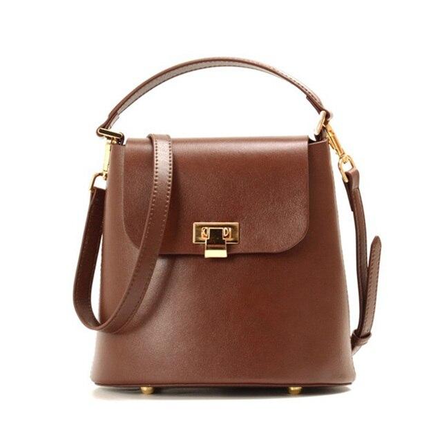 Leather Handbag 2018 New Korea Dongdaemun Ins With The Same Paragraph Retro Oil Wax Leather Bucket Bag Dual-Use Fashion Handbags