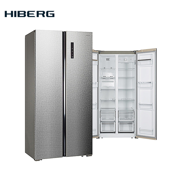 "Холодильник Side-by-side HIBERG RFS-480D NFXq, цвет нержавеющая сталь с фактурной поверхностью ""под лён"""