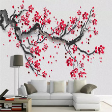 Beautiful HD hand-painted plum red plum new Chinese TV background... Specializing in the production of wallpaper murals custom p