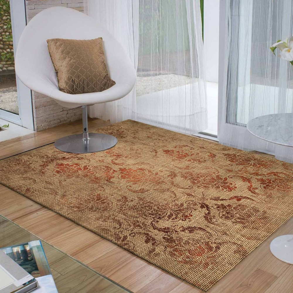 Else Cream Brown Floral Ethnic Flowers Aging 3d Print Non Slip Microfiber Living Room Decorative Modern Washable Area Rug Mat