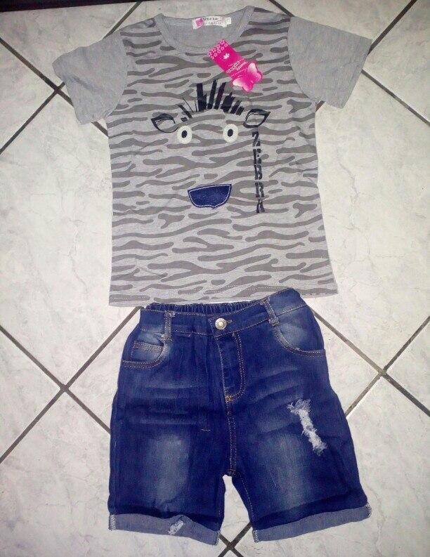 f72541bd Kids Boy Kool style Short-sleeved T-shirt+Denim Shorts 2 piece Suit Boys  Clothing Set