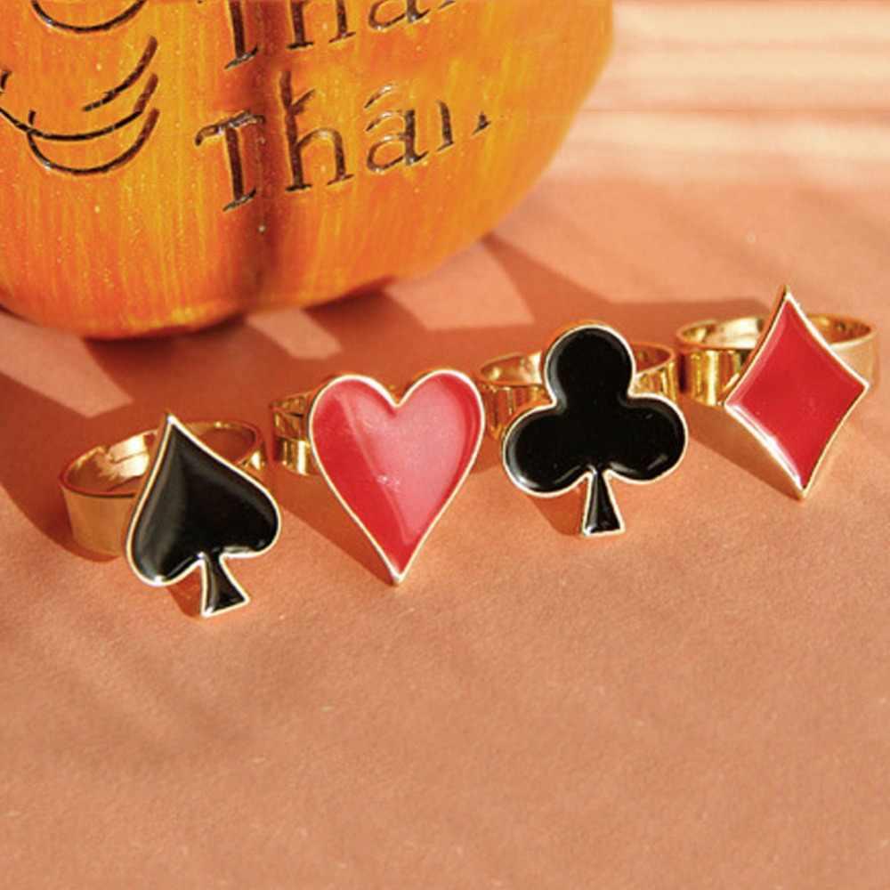 1ピースファッション人格ポーカーリング熱い販売レディ4スタイルパンクリング用女性男性ジュエリーギフト