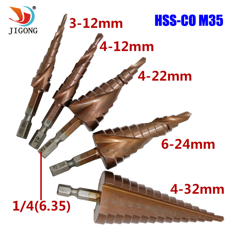JIGONG HSS-CO M35 Hexagonal Shank Spiral Groove Step Drill Bit Metal Cone Step Drill Bit Stainless Steel Hole Saw Hole Cutter 6 60mm hss step cone drill bit hole cutter set 12 steps metric step drill wood plastic metal drilling shank dia 13mm