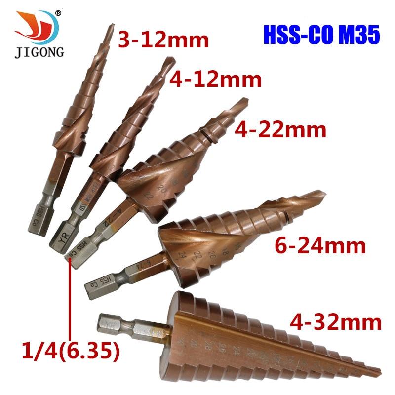 JIGONG HSS-CO M35 Hexagonal Shank Spiral Groove Step Drill Bit Metal Cone Step Drill Bit Stainless Steel Hole Saw Hole Cutter