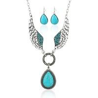 Lady Boho Vintage Turquoise Wings Teardrop Charm Earrings Necklace Jewelry Set