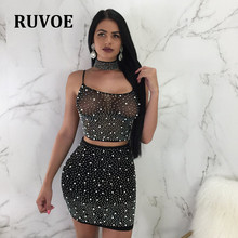 New Arrival Black White Sexy Night Club Party Dress Mesh Pearls Back Crisscross Two Piece Set Mini Halter Bodycon Dress TB-18 crisscross halter bikini set