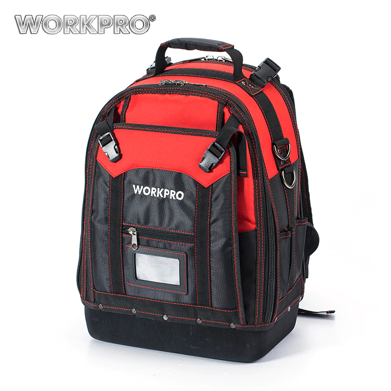 WORKPRO New Tool Backpack Tradesman Organizer Bag Waterproof Tool Bags Multifunction knapsack with 37 Pockets W081065AE raw hem ripped button front denim overalls
