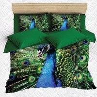 Else 6 Piece Blue Peacock Bird Green Feathers Animals 3D Print Cotton Satin Double Duvet Cover Bedding Set Pillow Case Bed Sheet