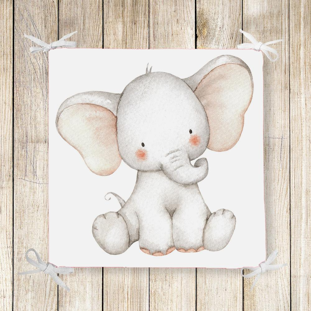 Else Cute Funny Sweet Elephant Animal 3d Print Square Chair Pad Seat Cushion Soft Memory Foam Full Lenght Ties Non Slip Washable
