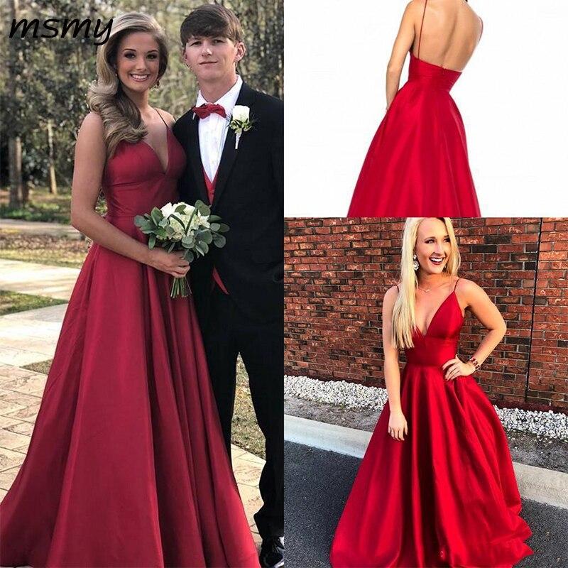 Nouveau Sexy a-ligne robes de soirée v-leck sans manches Satin rouge robe de bal longue élégante longueur de plancher sur mesure