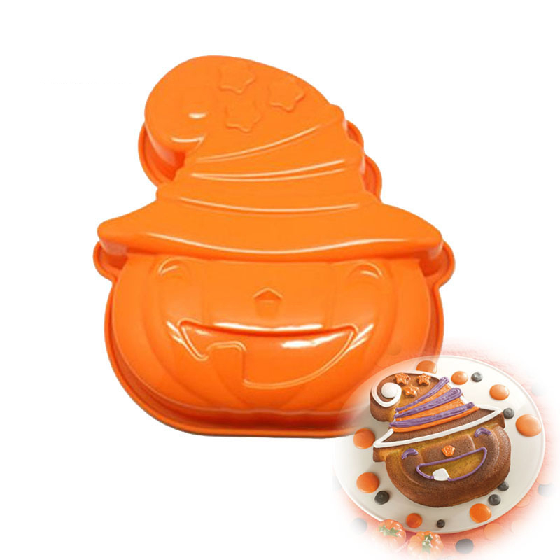 Halloween Pumpkin Shape Silicone Cake Mold Baking Tart Bread Mousse Jelly Pudding Chocolate Halloween Cake decorating Tools image