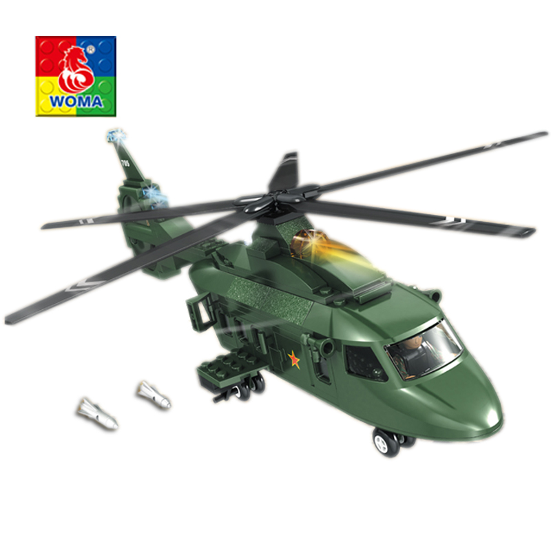 WOMA Military Educational Building Blocks Toys For Children Kids Gifts Helicopter Compatible with Legoe ausini95 automatic rifle military arms building blocks educational toys for children plastic bricks best friend legoe compatible