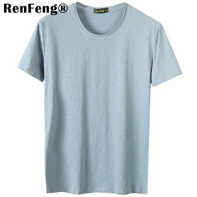 e4fa0ac6922 Blank T-Shirt Men T Shirt Short Sleeve Tshirts Solid Bamboo Fiber Homme Tee  Shirt