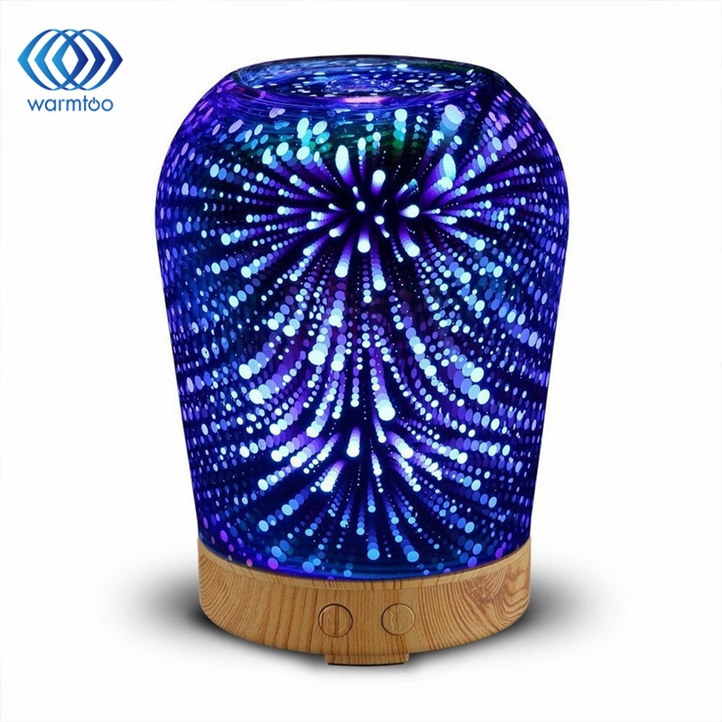 цены 100ml 3D Light Essential Oil Aroma Diffuser Ultra-quiet Portable Ultrasonic Humidifier Aromatherapy 12W 100-240V