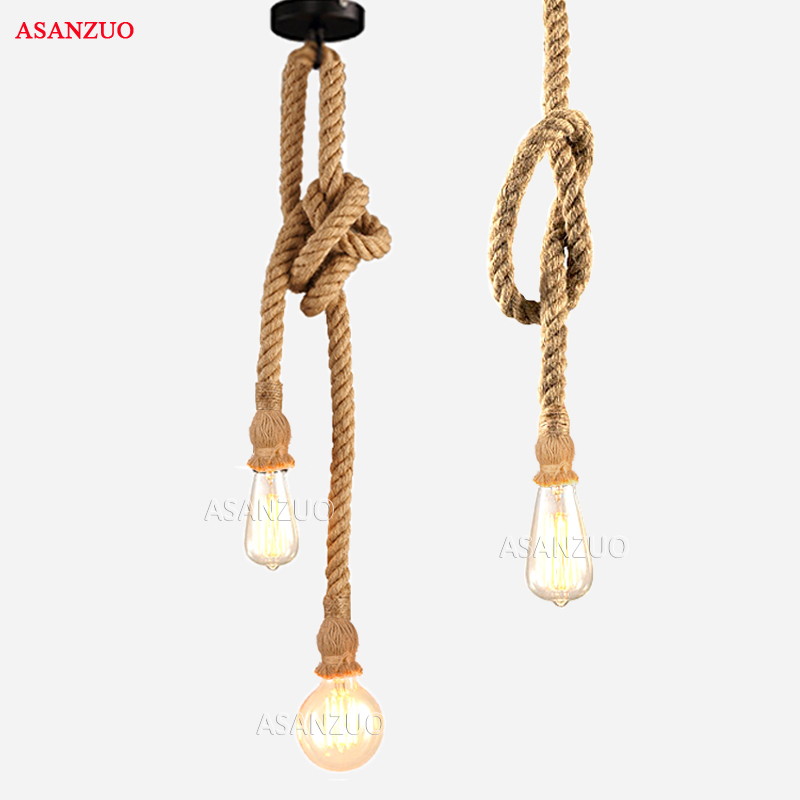 Vintage Hemp Rope Pendant Lights Loft E27 Rope Light Base Indoor Lighting Lamp DIY For Kitchen Cafe Bar Decor Hanglamp